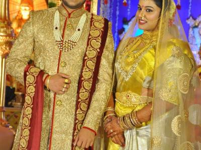 Music director Koti's son Rajeev's tied the knot with Pratyusha in Hyderabad recently. Film world's Who is Who including Chiranjeevi and Balayya attended the reception. - Sakshi Post