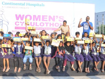On the occasion of International Women's Day, Continental Hospitals in association with Cykul organized a Women's Cykulothon on ISB road in Hyderabad on Sunday. Over 480 women cycling enthusiasts participated in the 25-km long event. - Sakshi Post