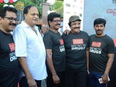 Vice Presidential candidate M. Venkaiah Naidu, AP Minister Kamineni Srinivas, Khairatabad MLA Chintala Ramachandra Reddy, Excise Commissioner Chandravadan and Enforcement Director Akun Sabharwal along with film personalities participate in an anti-dr - Sakshi Post