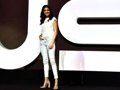 Indian Bollywood actress Anushka Sharma attends the launch of her new clothing brand 'NUSH' in Mumbai on October 3, 2017. - Sakshi Post