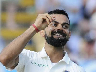 Virat Kohli flaunted his wedding ring after scoring a century during the second day of the first test cricket match between England and India at Edgbaston in Birmingham, England. The Indian cricketer added yet another feather to his cap as he notched - Sakshi Post