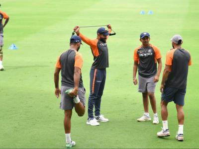 India and West Indies cricket team were seen practicing for the second test match which would begin from tomorrow. - Sakshi Post
