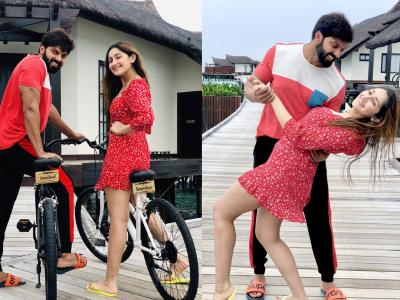 Candid Photos Of Celebrity Couple Arya And Sayyeshaa - Sakshi Post