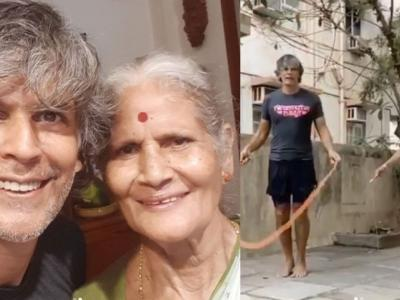 Milind Soman and his mother