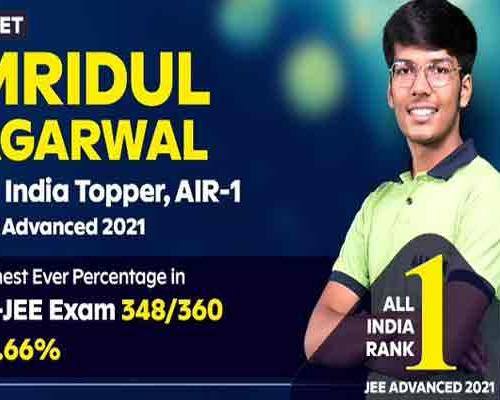 JEE Advanced 2021 Toppers List: Mridul Agarwal Scores 96.66% to Top IIT-JEE - Sakshi Post