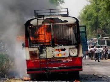 RTC bus in flames, traffic hold-up in Patny Centre - Sakshi Post