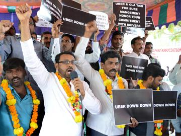 Uber, Ola, Taxi For Sure Cab Partners Protest Over Poor Income - Sakshi Post