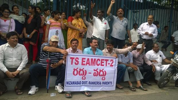 EAMCET-2 leakage and consequences are taking another twist as students are demanding for cancellation of the medical entrance, while rankers and their parents are raising voice against it. - Sakshi Post