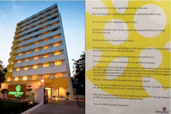 There's increasing pressure on the hotel to issue a public apology over the matter. However, the Lemon Tree at Bengaluru has not released a statement so far and it remains unclear if the poster has been pulled down, or not. - Sakshi Post