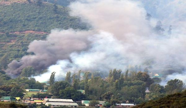 Smoke rising from the attack on the army camp - Sakshi Post