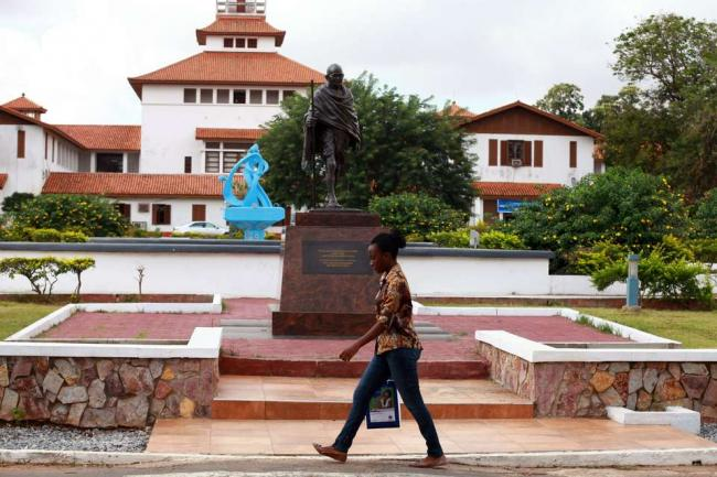 The Gandhi statue at the university was unveiled by President Pranab Mukherjee during his state visit to Ghana in June 2016. - Sakshi Post