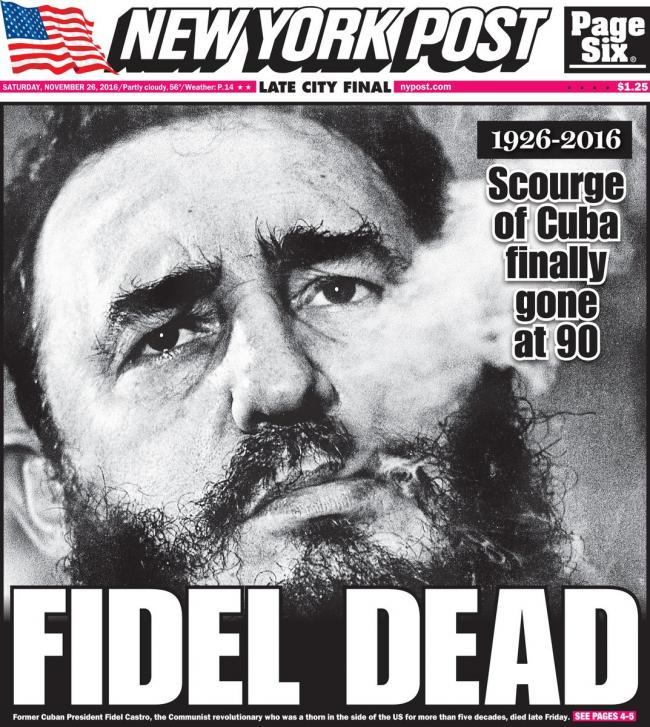 New York Post Coverage of Castro's Death - Sakshi Post