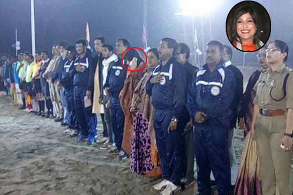 MLA Vaishali Dalmiya in circle was caught on camera talking on the phone when the National Anthem was being played. - Sakshi Post