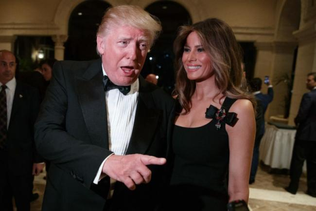 President-elect Donald Trump with wife Melania Trump during a New Year's Eve party at Mar-a-Lago in Palm Beach, on Saturday. - Sakshi Post