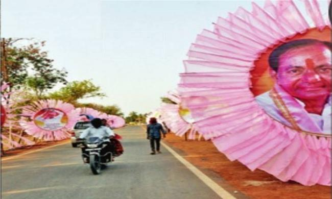 The roads leading to Komaplly for the plenary are decked with pink lights and huge cutouts of chief minister K. Chandrasekhar Rao - Sakshi Post