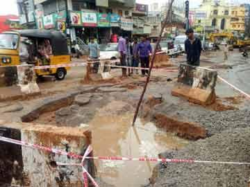 Last year, the sink hole was caused due to the laying of 1600 inch diametre HDP pipelines at the T Junction near Safilguda bus stop. - Sakshi Post