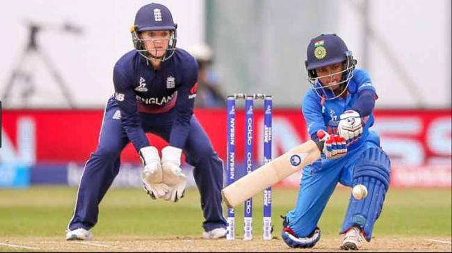 Opener Punam Raut plays a shot during the ICC Woman World Cup finals against England at Lords, London on Sunday.  - Sakshi Post