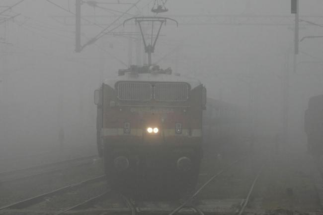 Train services took a hit in Delhi as visibility stood at 200 metres. - Sakshi Post