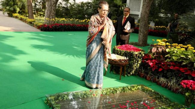 Congress President Sonia Gandhi at the inauguration of a photo exhibition, 'A Life of Courage', on the life and achievements of Indira Gandhi. - Sakshi Post