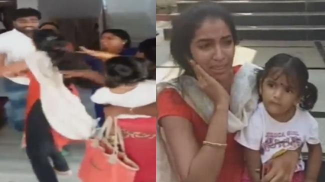 Srinivas Reddy beating his wife; Sangeetha with daughter outside husband's house - Sakshi Post