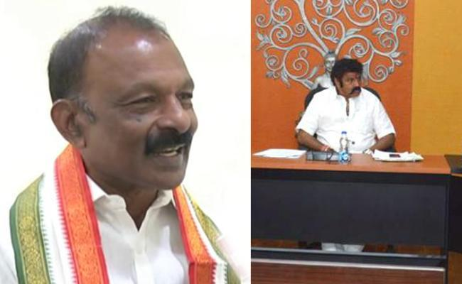 APCC president Raghuveera Reddy and (right) actor Balakrishna seated in the chief minister's chair during a meeting, recently. - Sakshi Post