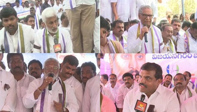 Some of the YSRCP leaders at the protest sites across various districts of Andhra Pradesh. - Sakshi Post