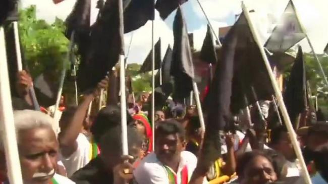 Various fringe outfits and Tamil organisations greeted the Prime Minister with black flag protests to condemn the Centre for its failure to set up the Cauvery Management Board (CMB) and the Cauvery Water Regulatory Committee (CWRC).(<i> - Sakshi Post