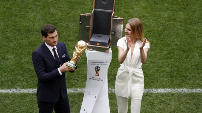 Goalkeeper Iker Casillas of Spain holds the World Cup Trophy   - Sakshi Post