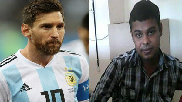 Dinu Alex (R), an ardent fan of Argentina football team and its captain Lionel Messi (L), was missing since he left his home in Arumanoor near here on Friday - Sakshi Post