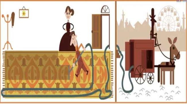 The Doodle depicts an operator cleaning a carpet using Booth's first design, nicknamed Puffing Billy - Sakshi Post