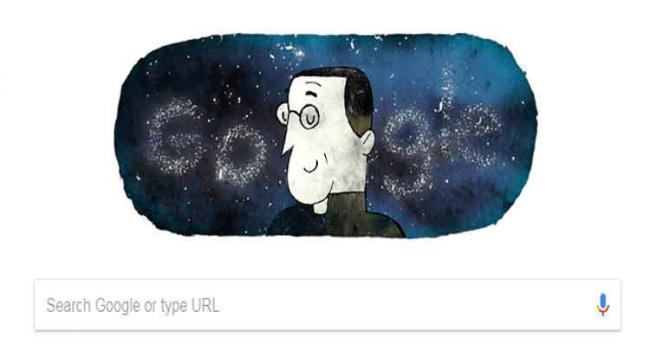 The Google Doodle on Tuesday that marks Lemaitre's 124th birth anniversary depicts the cosmologist within the constantly expanding universe - Sakshi Post