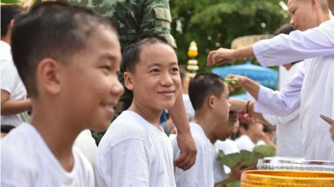 The Thai boys prepared for their ordinations on Tuesday with ceremonies that included shaving their heads - Sakshi Post