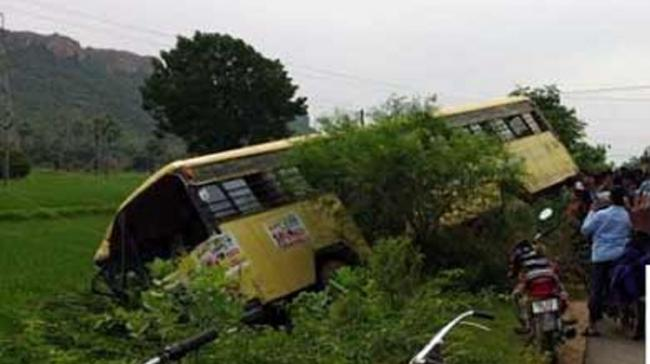 A school bus carrying children hit a transformer in Hanumanthunipet here this morning. - Sakshi Post
