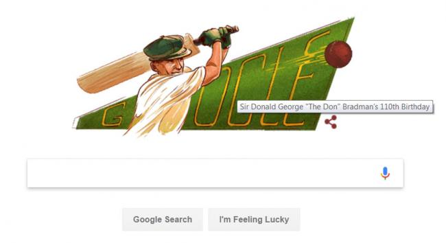 Doodle to cricketing great Donald George Bradman on his 110th birth anniversary - Sakshi Post