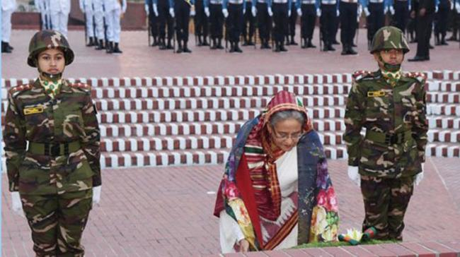 Sheikh Hasina at National Mausoleum in Savar on the outskirts of capital Dhaka. - Sakshi Post