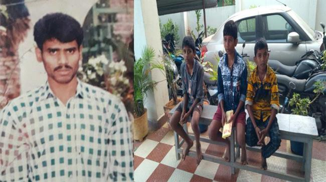 Victim A Srinivas .Inset His three sons at the Gollaprolu  Police Station - Sakshi Post