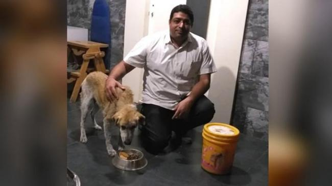 Ramesh Sancheti with his dog, Brownie - Sakshi Post