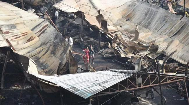 The remains of the fire that broke out at Numaish, Nampally - Sakshi Post