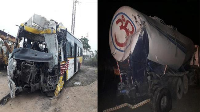 Damaged bus in Accident - Sakshi Post
