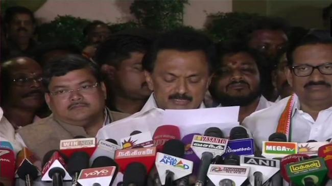 DMK president M K Stalin made the announcement at party headquarters Anna Arivalayam. - Sakshi Post