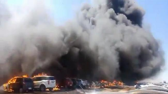 The fire that took over the parking lot of the air show - Sakshi Post