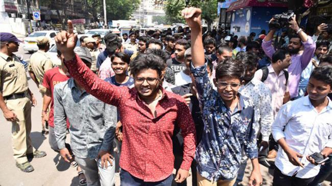 Students protest in front of the Inter Board office - Sakshi Post