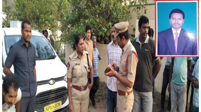 Bobbili DSP Goutamisaali at the scene of crime  Inset: The deceased T Chinnababu - Sakshi Post