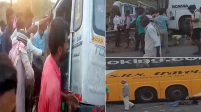 Locals trying to bring a passenger out who got trapped inside Tata Toofan in Kurnool on Saturday - Sakshi Post