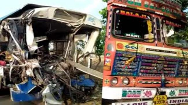 RTC Bus collided with a lorry stationed alongside the road. - Sakshi Post
