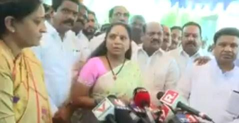 Former MP and TRS leader K Kavitha speaking to the media for the first time after the Lok Sabha results - Sakshi Post
