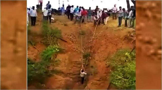 Locals rescue man who was trapped in a 50-foot deep well in Warangal - Sakshi Post