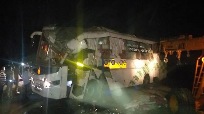 The bus crashed into a DCM van in the early hours of Thursday - Sakshi Post