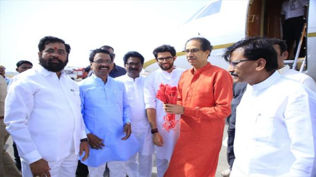 Shiv Sena chief Uddhav Thackeray offered prayers at the makeshift Ram Lalla temple in Ayodhya in Uttar Pradesh  along with 18 newly-elected MPs of his party - Sakshi Post
