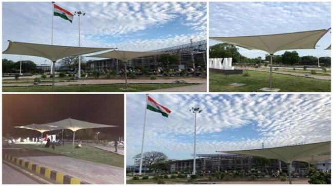 At the Guntakala station, six inverted umbrella canopies have been installed at a cost of Rs 14 lakh approx. - Sakshi Post
